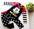 2 unids Niños Set!! Los Niños lindos Del Bebé Muchachas de Los Muchachos de Mickey Mouse de Manga Larga Tapas de La Camiseta + Los Pantalones Largos Negros