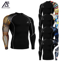 Life On Track Men S Single Sleeve Printed Fitness Running Compression Shirts Quick Dry MMA Gym
