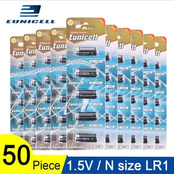 Batería alcalina de 50 Uds. De 1,5 V y tamaño N pilas primarias y secas LR 1 AM5 E90 AM5 MN9100 para juguetes; batería LR1 de 10 tarjetas de 600mAh