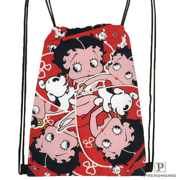 Custom Betty Boop Drawstring Backpack Bag Cute Daypack Kids Satchel (Black Back) 31x40cm#180612-03-Betty Boop