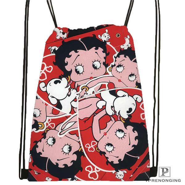 Custom Betty Boop Drawstring Backpack Bag Cute Daypack Kids Satchel (Black Back) 31x40cm#180612-03-Betty Boop