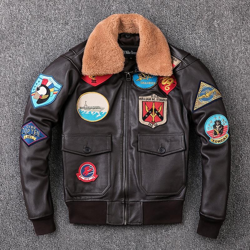HTB1PuRjXvjsK1Rjy1Xaq6zispXaE 2019 Brown Men TOP GUN Pilot Leather Jacket Wool Collar Plus Size XXXL Genuine Cowhide Winter Russian Aviator Coat FREE SHIPPING