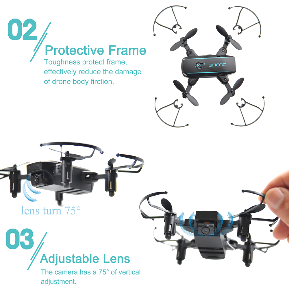 New Arrival IN1601 2.4G 720P 0.3MP Wifi FPV Foldable Mini Drone With Camera Altitude Hold RC Drone Quadcopter Selfie Drone Gifts (9)