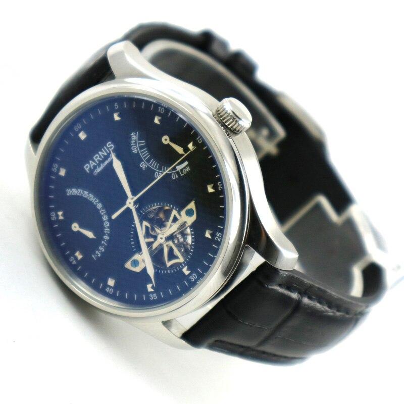 Parnis 43 มม. สำรองสายสีดำสายสีดำการเคลื่อนไหว ST2505 อัตโนมัติผู้ชายนาฬิกา-ใน นาฬิกาข้อมือกลไก จาก นาฬิกาข้อมือ บน   1