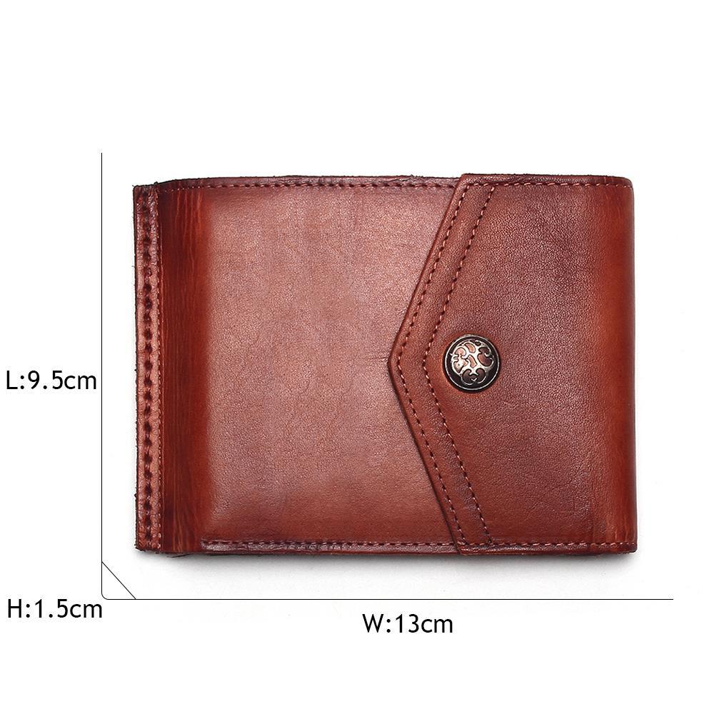 Image 3 - Винтажный Мужской кошелек TAUREN, из 100% натуральной кожи, с  застежкой, в ретро стиле, короткий, тусклый, красный, меняющий Цвет  Кошелек для монетwallet shortwallet menhasp wallet