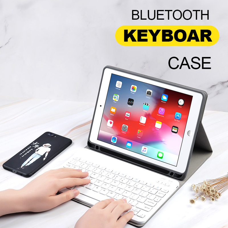 Case For iPad Pro 12.9 2017 2015 Keyboard Case With Pencil Holder Silicone Back Smart Cloth Texture Cover For iPad Pro 12.9 2018-in Tablets & e-Books Case from Computer & Office    1