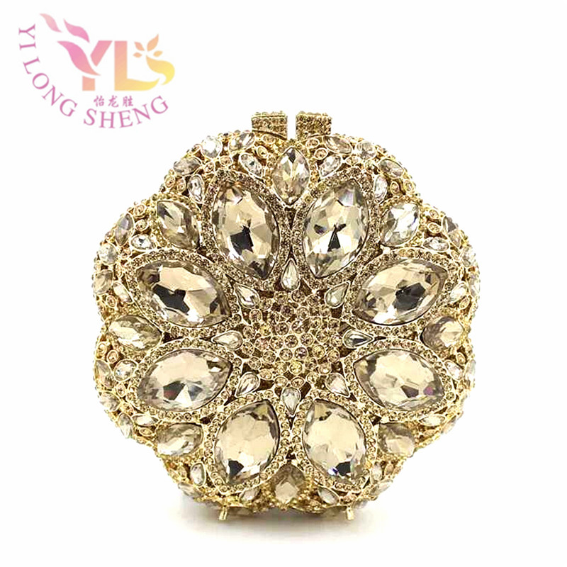 Women Ball Design Glass Clutches Evening Fashion Lady Handbag Crystal Metal Clutch Bag with Stone Cross Body Evening Bag YLS-G82 women designer clear glass clutches evening fashion handbag crystal metal clutch bag with stone crossbody evening bags yls g83