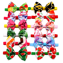 40pcs Dog Accessories Summer Fruit Style Pet Dog Bow Tie Adjustable Cat Puppy Collar Bowties Personalized Printed Pet Supplies