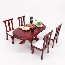 1:12 Кукольный домик имитация миниатюрная мебель красный деревянный цвет обеденный стол Набор стульев DIY Кукольный дом украшения для детских игрушек A513