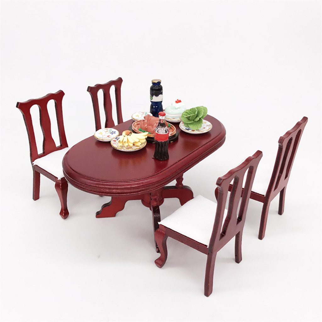 1:12 Dollhouse Simulation Miniature Furniture Red Wooden Color Dining Table Chair Set DIY Doll House Decoration Kids Toys  A513
