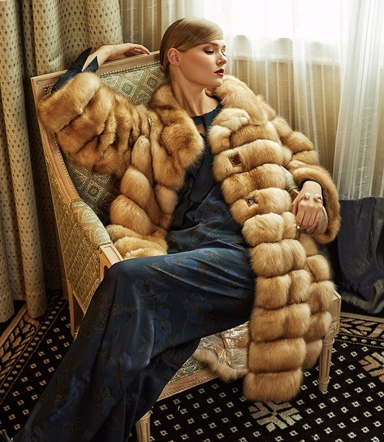 Arlenesain custom real sable fur gold women long coat  483
