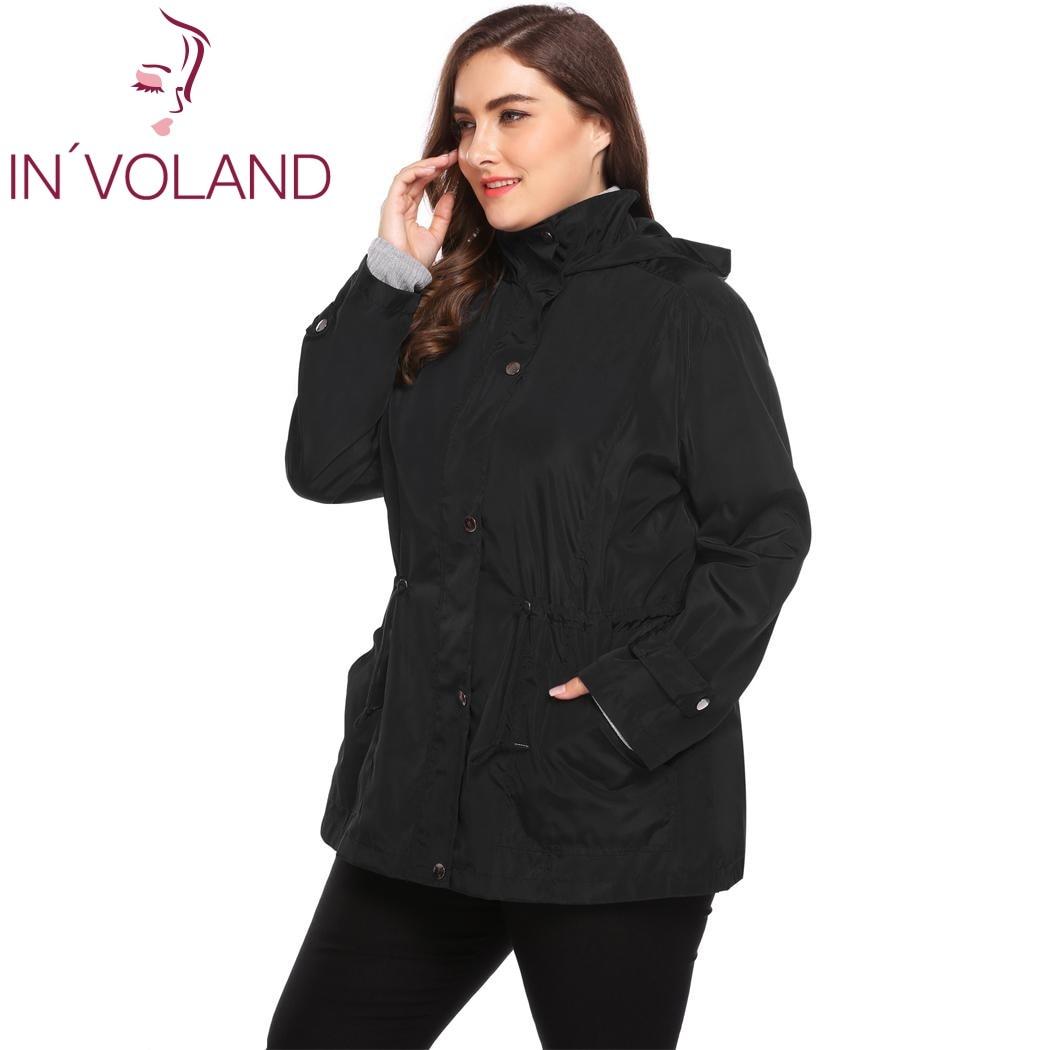 INVOLAND Big Size L-4XL Women Rain Jacket Autumn Winter Coat Hooded Long Sleeve Solid Hooded Large Overcoat Big Size