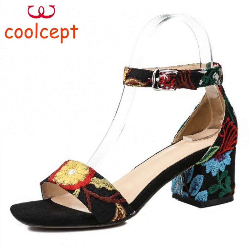 Coolcept Size 33-42 Women Real Genuine Leather High Heel Sandals Flower Embroidery Ankle Strap Thick Heel Sandals Summer Shoe coolcept size 33 43 women real leather high heel sandals open toe ankle strap rivets summer shoes woman party club sandal