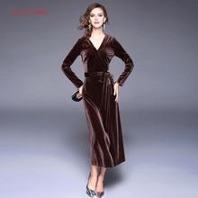 Fairy Dreams Women Bandage Dress Brown Solid Velvet Dress 2017 Spring Autumn New Style Brand Hot Sale Clothing vestidos de festa