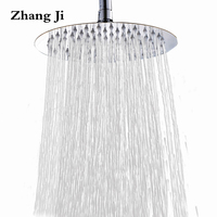 Zhang Ji 25cm Big Round Rainfall Shower Head Bathroom Fixture 10'' Top Stainless Steel Waterfall Shower Nozzle New Shower Head