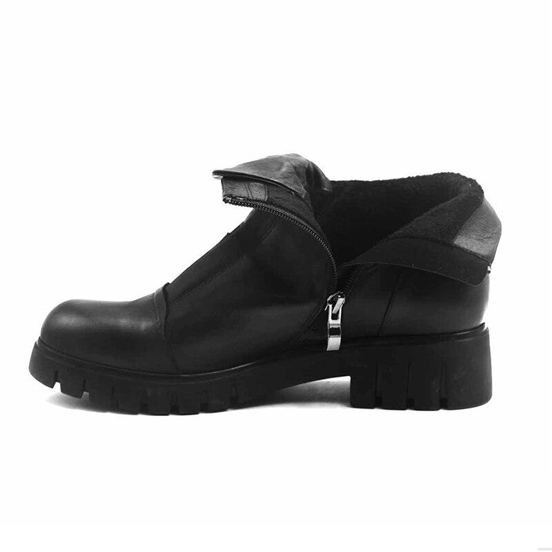 Suede Borla 2018 Mujer Partido Piel Bota Tobillo Thin black Femenina Fur Tacones black Zapatos Wool Calzado Botas Wetkiss Invierno Redonda Cuero Gruesos Leather Vaca Caliente Punta De Blackthinfurleather EqwXHaxS6