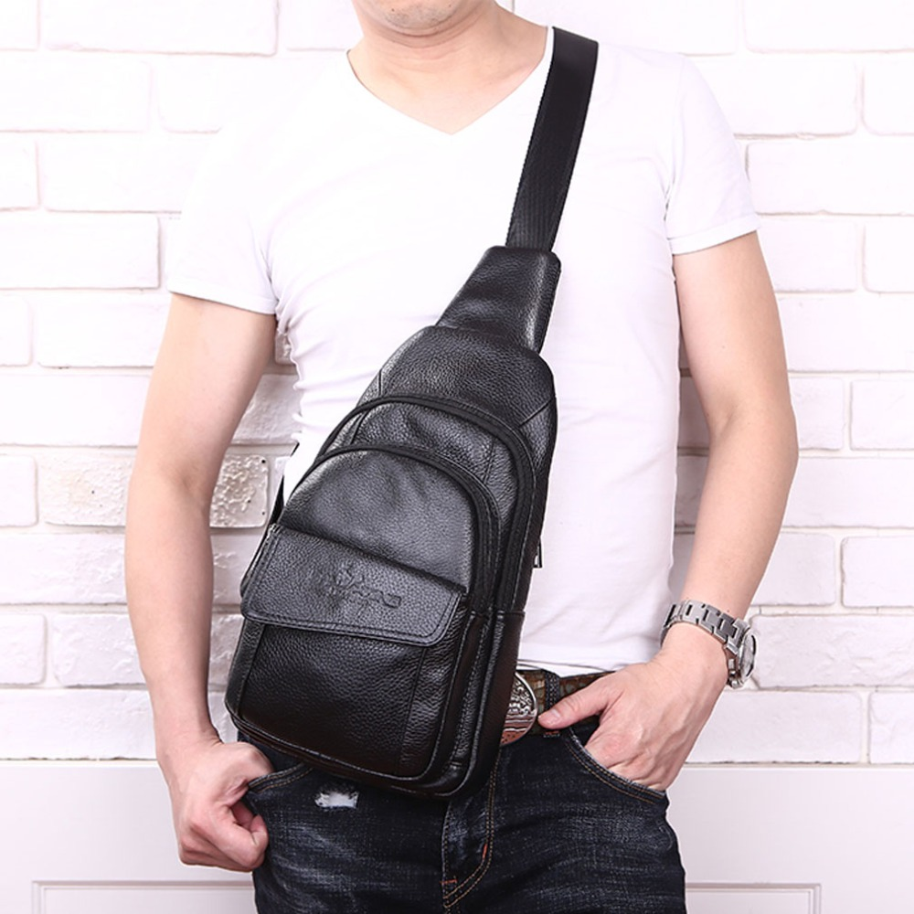 New Men Genuine Leather Cowhide Messenger Shoulder Cross Body Bag Travel Male Sling Chest Back Pack Day Pack DropShipping new 2018 men nylon travel military cross body messenger shoulder back pack sling chest airborne molle pack