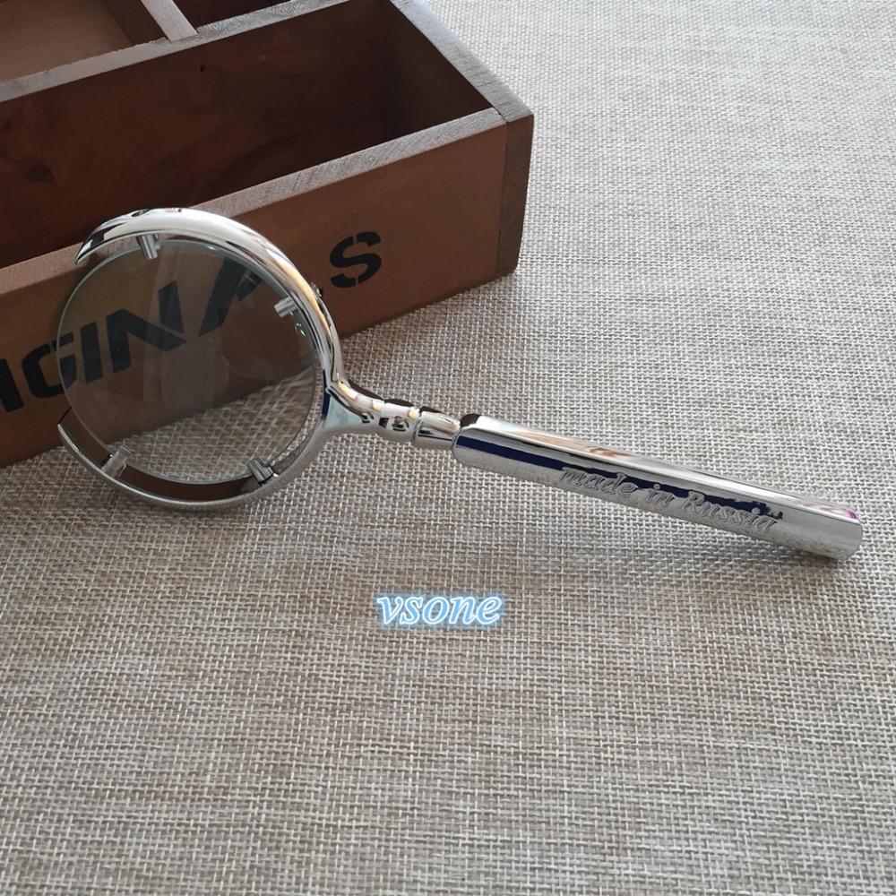 10X70mm Européenne Style Loupe Bijoutier Loupe Lunettes Hand Held Pocket Portable Loupe Lentille De Fresnel Avec Poignée En Métal