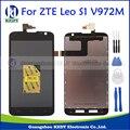 Zte v972 5.0 polegada display lcd preto + touch screen digitador assembléia peças de reposição original novo para zte leo s1 v972m + ferramentas