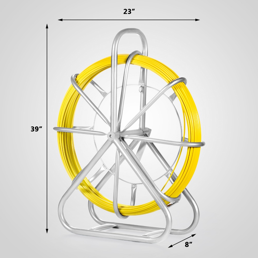 VEVOR Fish Tape Fiberglass 6MM 425FT Duct Rodder Fish Tape Continuous Fiberglass Wire Cable Running With Cage And Wheel Stand