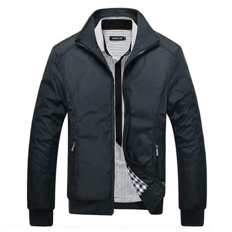 Giacca da uomo Autunno della Molla di Modo Manica Costola Cappotto 2016 Nuovo Arrivo Collare Del Basamento Sottile Stile Casual 3 Colori HT