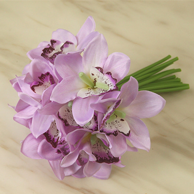 Wedding Bridal Bridesmaid Holding Bouquet Artificial Orchid Flowers ...
