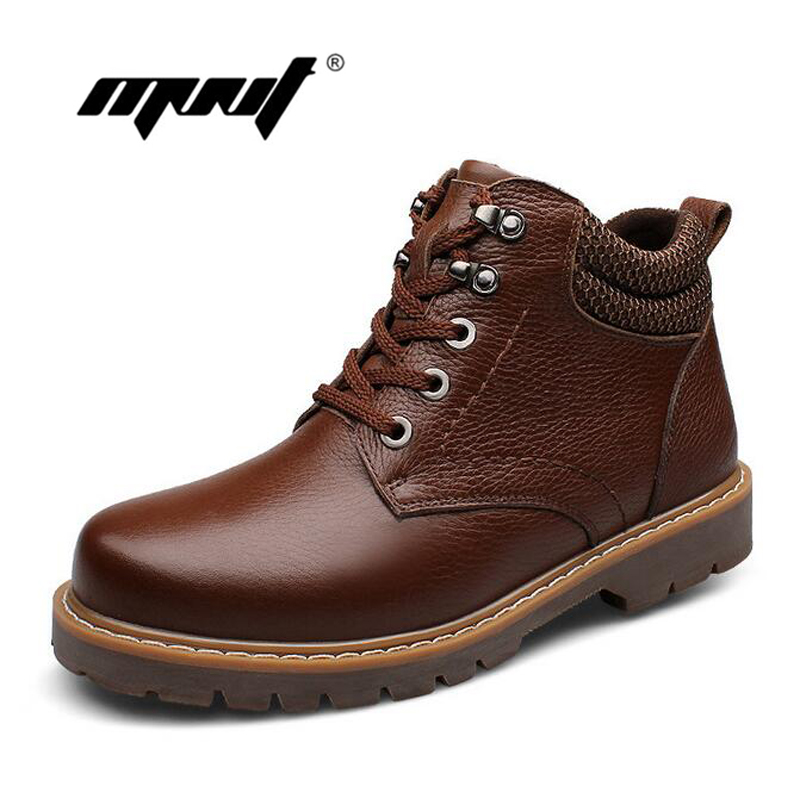 Full grain leather Russian style men boots Handmade warm fur men winter shoes Plus size fashion men snow boots