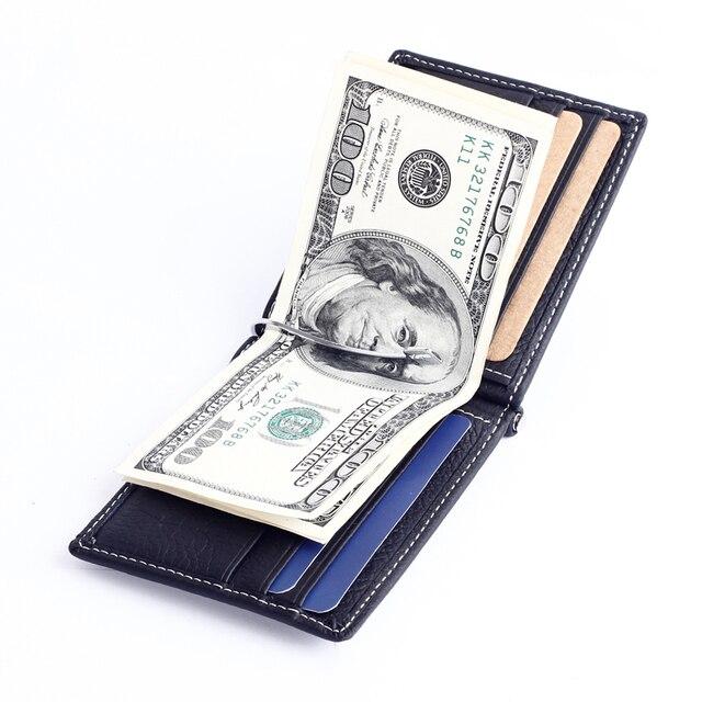 Los Hombres de moda Clip de Dinero Billetera con Monedero de Cuero Genuino Delgado