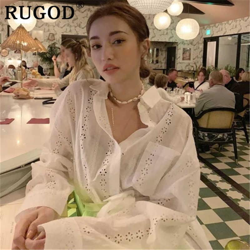 RUGOD в Корейском стиле открытые белые женские туфли длинная блуза элегантные свободные длинные рукава рубашки с поясом Повседневное летние топы Женская одежда 2019
