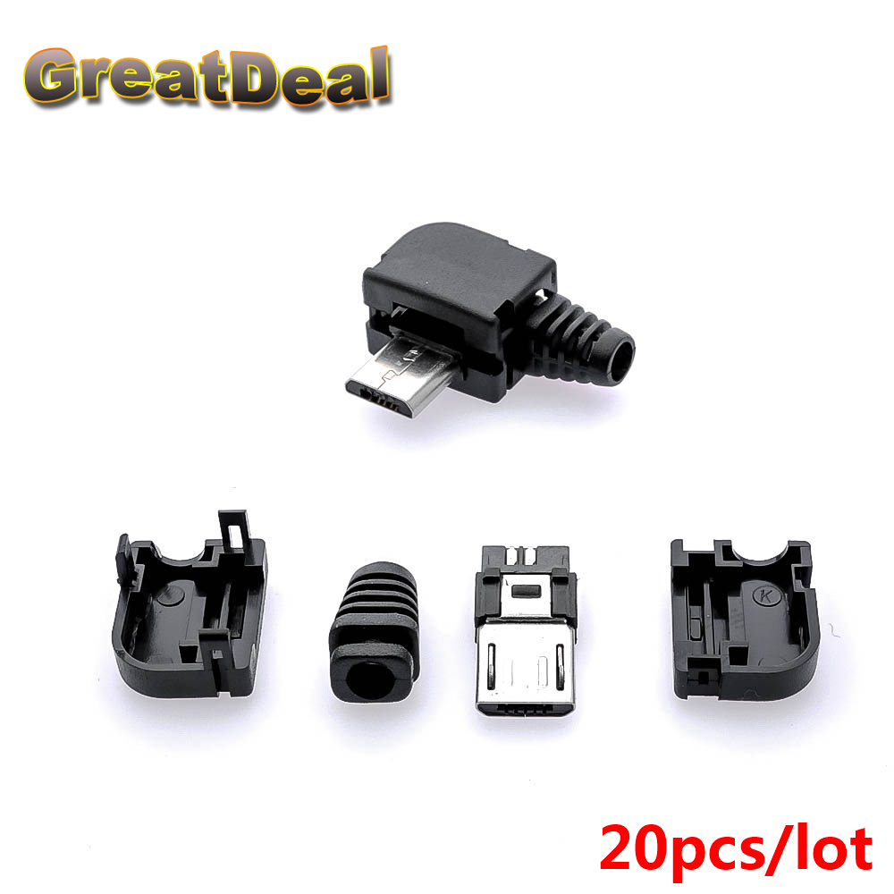 20pcs New Plastic Right Angle Micro USB 5Pin 5P Port Metal Male Plug Socket Connector With Plastic Covers HY1418
