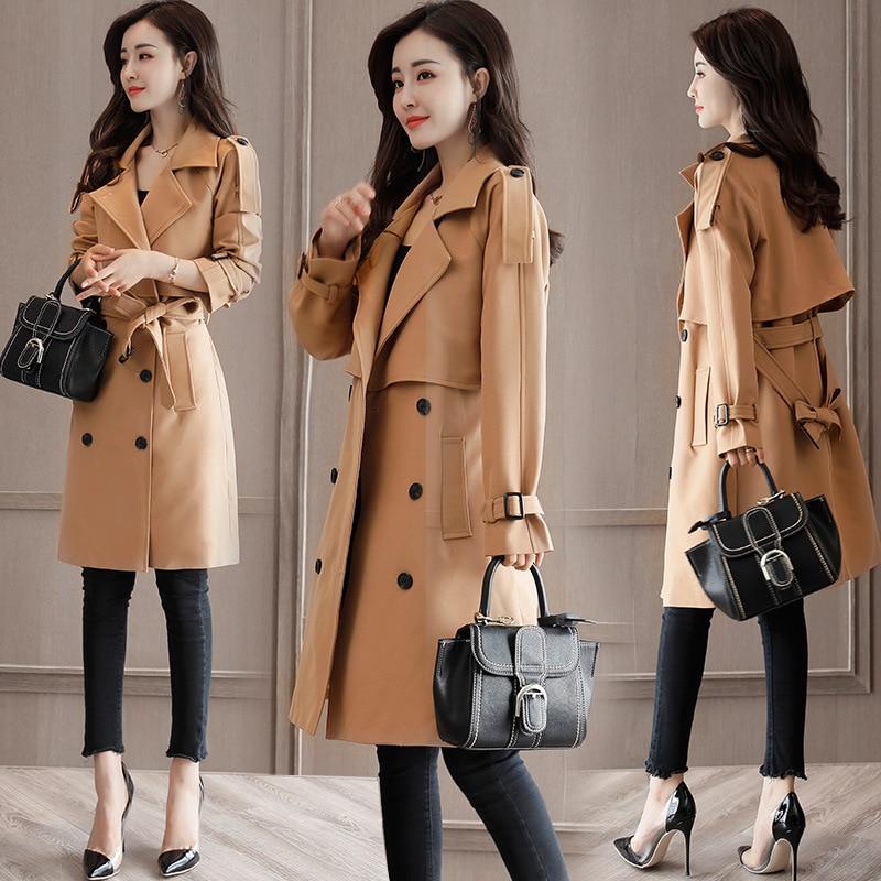 Free Shipping Plus Size Women Coats Girls Long Windbreaker Spring Autumn Trench Coat With Belt Korean Casual Womens Costume