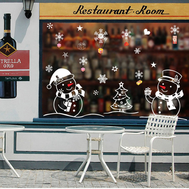 Snowman Stickers Christmas Decorations For Home 2019 Navidad New Year Restaurant Home Decor Glass Window Decorative Stickers