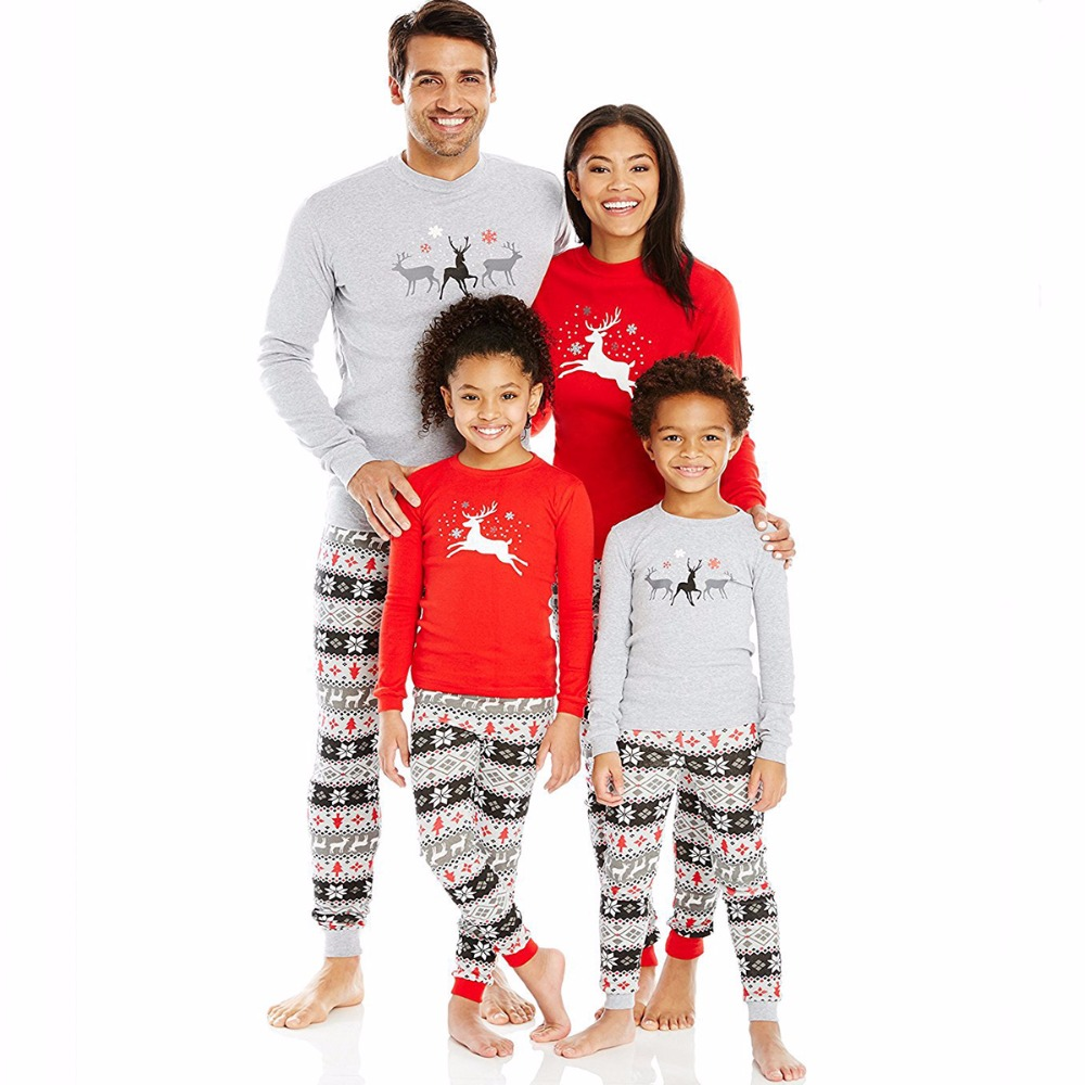 Family Christmas Pajamas Sleepwear Snow New Years Clothes for girls Clothes Set 2Pcs Mother Father Son Outfits Family Clothing