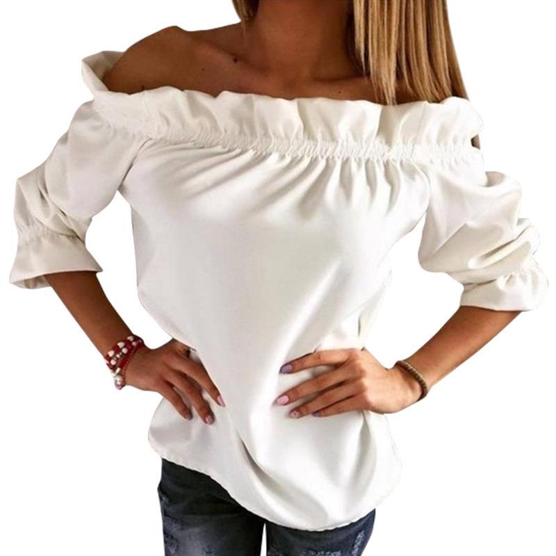 Women T Shirt 2017 Fashion Puff Sleeve Slash Neck Summer Tops Strapless Off Shoulder Ruffles Feminine Top Tee Ladies Tops 3866X