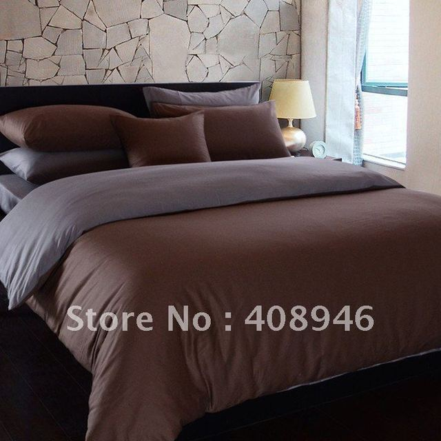 120212 free shipping wholesale- 40s 100% Sateen cotton hot Brown + gray color luxury bedding set / 4pcs duvet cover/bed linen