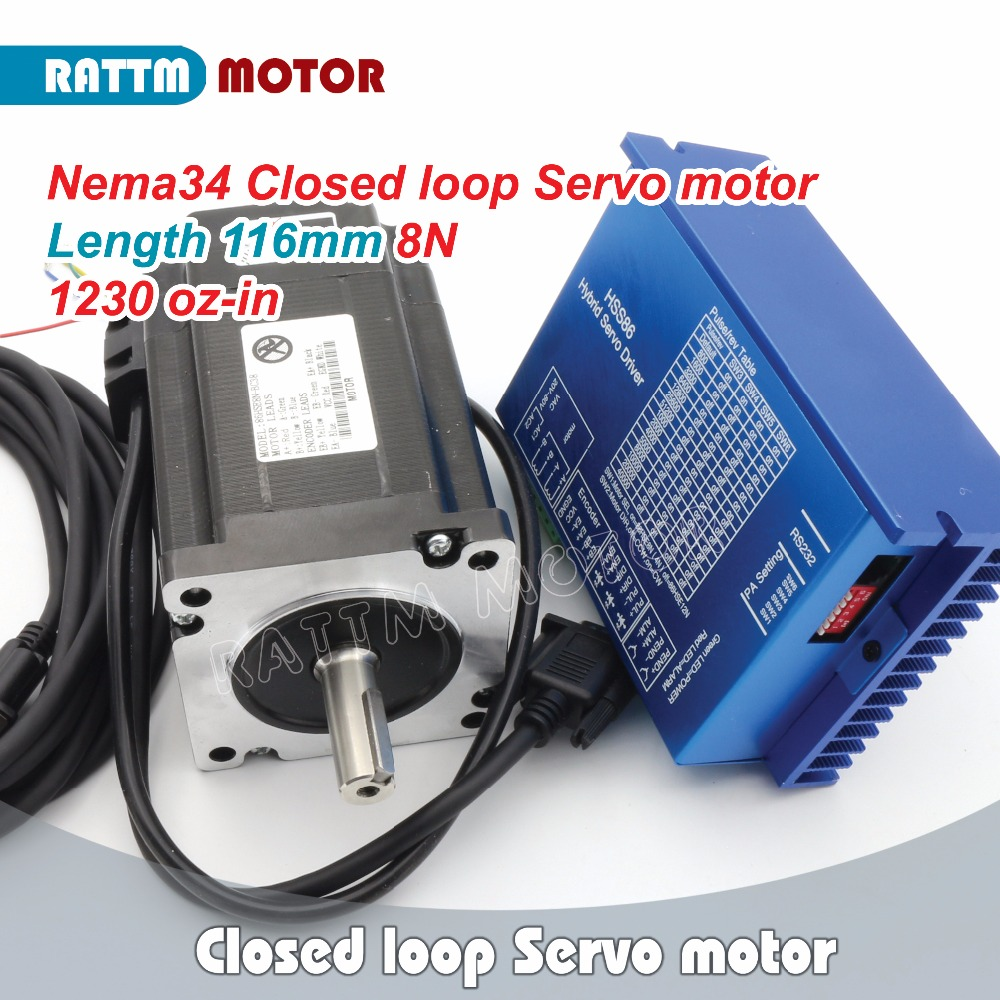 RUS/RA/EU Ship!! Nema34 8N.m Closed Loop Servo motor 1230oz in 6A 2 Phase&HSS86 Hybrid Step servo Driver 8A AC24~70V / DC30~100V