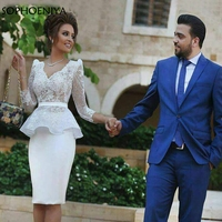 New Arrival Long sleeve short evening dress White Lace Appliques Arabic Evening gowns short robe de soiree Formal dresses