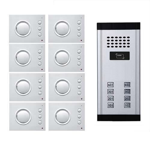Xinsil Gebäude Intercom System Audio Tür Telefon Für 8 Wohnung Id Karte Entsperren 4-wired Audio Türsprechanlage W/t Hand-free Indoor Einheit
