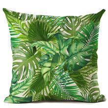 Зеленый диван Throw Pillow Case Тропический подушка Чехол Чехол Зеленый лист для автомобильного дивана Главная Декоративная наволочка 45x45cm