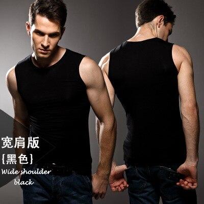 High quality! Mens modal Solid color underwear clothing close-fitting vest lycra high elasticity broad shoulder undershirts