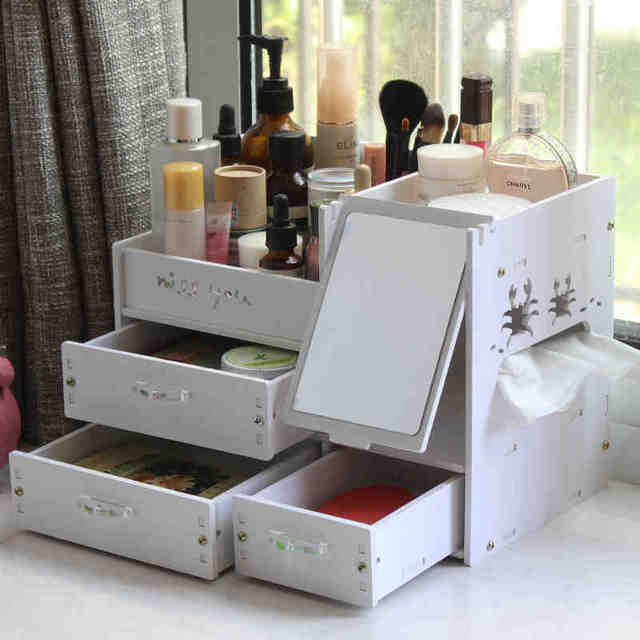 organizer storage box plastic with mirror make up organizer rangement maquillage cosmetic. Black Bedroom Furniture Sets. Home Design Ideas