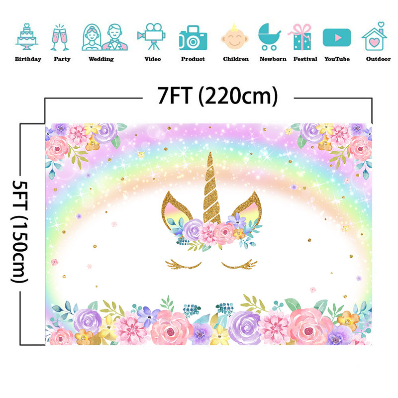 Rainbow Unicorn Backdrop Gold Unicorn Glitter Bubble Photo Backdrop Pastel Floral Children 39 s Birthday Decorate Party Banner in Background from Consumer Electronics