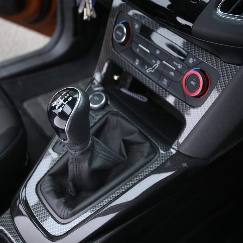 3Pcs/Set Carbon ABS Gear panel canholder cup holder Special Modified Decorative Cover case For Ford Focus3 4 mk3 4 2015-2017