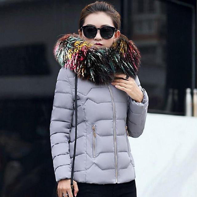 Multicolore Col De Fourrure Mince Femmes Vestes D hiver Épais Manteaux À  Capuchon En Coton b1faca00b7f2