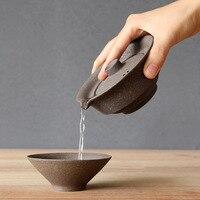 1 conjunto de cerâmica japonês xícara chá conjunto portátil viagem teaware kung fu xícara chá 1 pote 2 copos escritório em casa vintage drinkware gaiwan|Jogos de chá| |  -