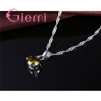 8 Colors 925 Sterling Silver Wedding Elegant Jewelry Sets Crystal Pendant Collar Necklace Earrings Women Decoration Set 4