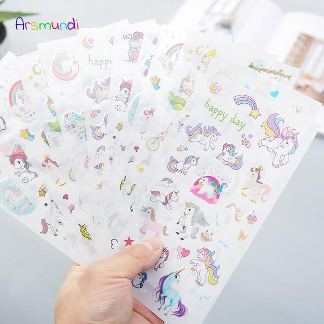Arsmundi Kawaii pegatina de diario decorativo lindo diario unicornio flores pegatinas Scrapbooking copos papelería suministros escolares conjunto