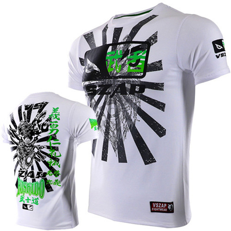 VSZAP Fight Thai Boxing Shogun Short Sleeve T Shirt Fighter Shirt Muay Thai MMA Fitness Sport T-Shirt Kickboxen Schwarz Herren