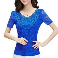Big Size S 5XL Lady Lace Blouses 2016 Short Sleeve Shirts Embroidery Style Women White Shirts