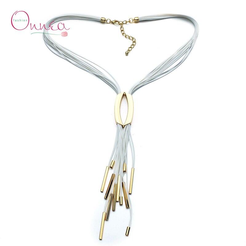 Onnea mode femmes multicouche chaîne gland collier ras du cou déclaration collier bijoux fantaisie en alliage de cuivre Tube collier